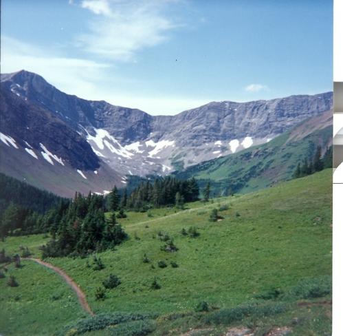 Landschaft in den Bergen, hinten das Felsmassiv, vorn eine Wiese