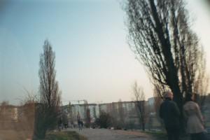 Ein Park unter weitem Himmel, markant zwei Pappel und zwei Passanten