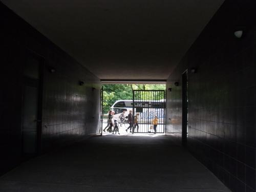 Blick aus einem Tunnel auf eine belebte Straße