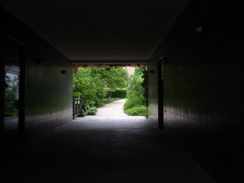 Blick aus dem Dunkel eines Tunnels