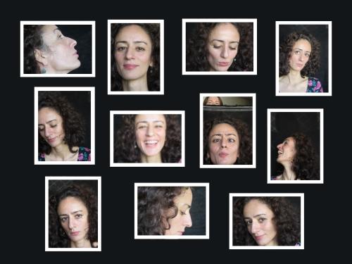 Collage mit 11 Fotos einer Frau auf schwarzem Hintergrund angeordnet.