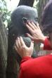 Eine Frau mit rotlackierten Fingernägeln betastet den Kopf einer Bronzeplastik