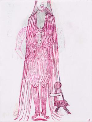 Bleistiftzeichnung mit roter Tinte