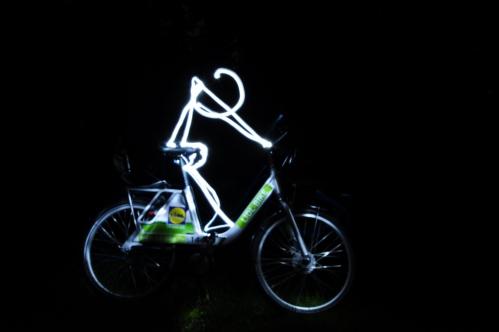light painting radfahrer